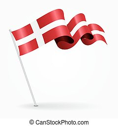 Danish pin wavy flag. Vector illustration. - Danish pin icon...