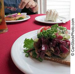 Danish Sandwich - Open-face sandwich of Danish meatballs, ...