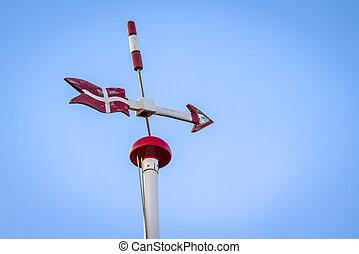 Danish weather vane with the flag of Denmark