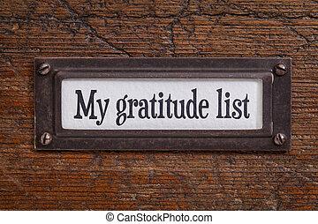 dankbaarheid, -, lijst, etiket, dossierkabinet, mijn