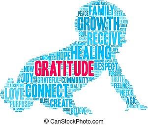 dankbaarheid, wolk, woord