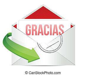dankbarkeit, danken, briefkuvert, spanischer , sie, karte