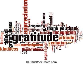 dankbarkeit, wolke, wort