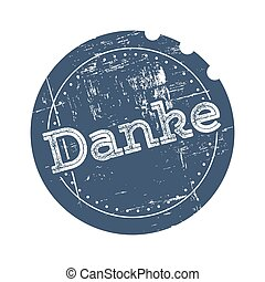 Danke blue rubber stamp