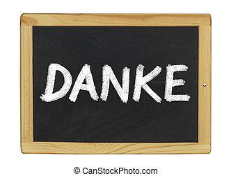 Danke written on a blackboard