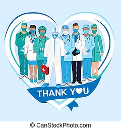 danken, doktoren, krankenschwestern, sie