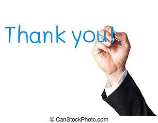 danken, hand, plank, zakenman, u, schrijvende , witte
