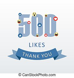 danken, houden van, dankbaarheid, 500, getal, heart-, u, media, ecard, sociaal, emoji