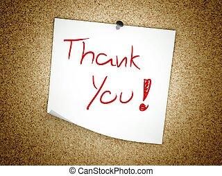 danken, kurk, aantekening, plank, u, boodschap
