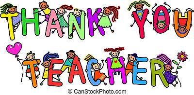 danken, leraar, geitjes, u