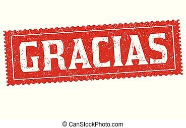 danken, of, ), taal, meldingsbord, postzegel, u, gracias, (, spaanse
