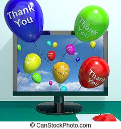 danken, online, berichten, computer, dank, komst, u, ballons