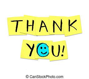 danken, opmerkingen, -, gele, kleverig, woorden, u
