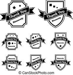 danken, ouderwetse , etiketten, vector, black , u, witte