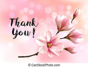 danken, rosa, schöne , magnolia., blüte, sie, brunch, ...