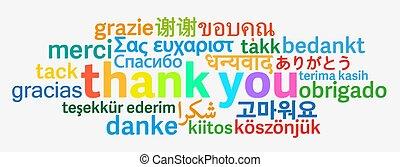 danken, talen, kleurrijke, anders, u, woord, wolk