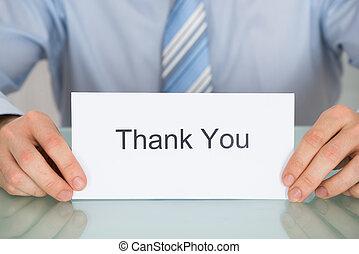 danken, tekst, vasthouden, zakenman, u, kaart