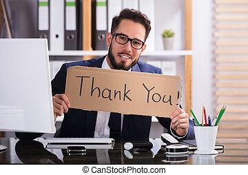 danken, tekst, vasthouden, zakenman, u, karton