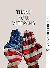 danken, usa, tekst, vlag, u, veteranen