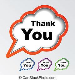 danken, vector, toespraak, bellen, u, wolk