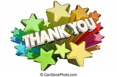 danken, woorden, boodschap, appreciatie, sterretjes, u, 3d