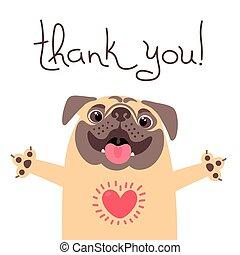 danken, you., zegt, pug, hart, schattig, dog, volle, gratitude.