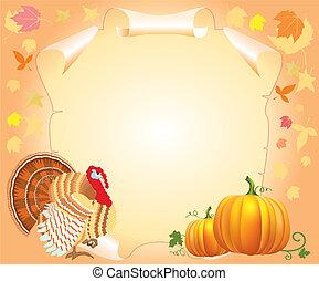 dankzegging, achtergrond, .vector, postkaart, met, turkije