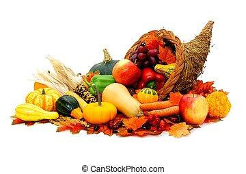 dankzegging, cornucopia, met, oogsten, groentes, vrijstaand, op wit