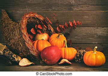 dankzegging, cornucopia, met, pompoennen, en, appeltjes , tegen, hout