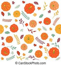 dankzegging, herfst, seamless, achtergrond.