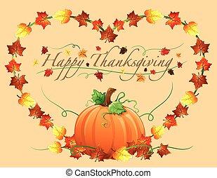 dankzegging, vrolijke , hart, pumpki