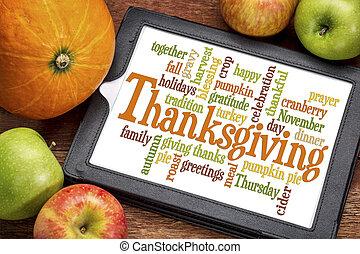 dankzegging, woord, wolk, op, tablet