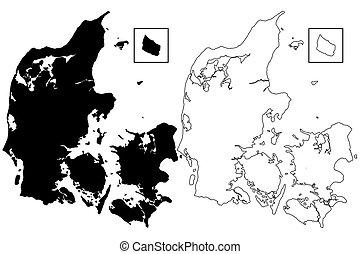 Danmark Kopenhamn Vektor Karta Karta Vektor Skissera