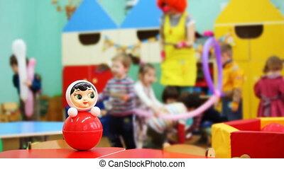 dann, roly-poly, spielzeug, bewegt, fokus, clown, kinder,...