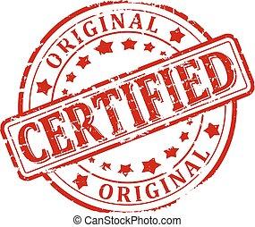 danneggiato, certificato, bollato, -, rotondo, vettore, originale, rosso