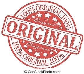 danneggiato, francobollo, -, rotondo, originale, rosso