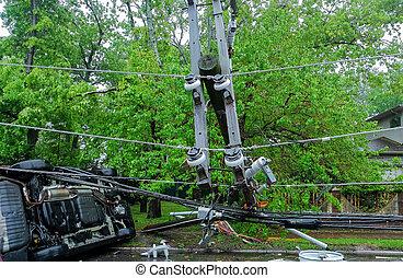 danneggiato, incidente, elettrico, uragano, automobile, sopra, secondo, girato, polo
