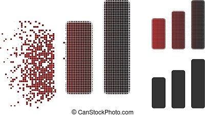 danneggiato, istogramma, halftone, aumento, pixel, icona