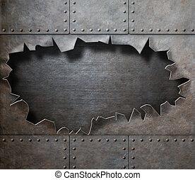 danneggiato, metallo, armatura, con, strappato, buco,...