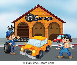 danneggiato, ragazzi, automobile, due, mezzo, garage, fronte