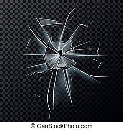danneggiato, schermo, rotto, finestra, vetreria, o