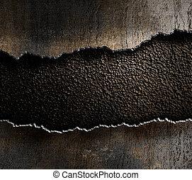 danneggiato, strappato, metallo, fondo, bordi