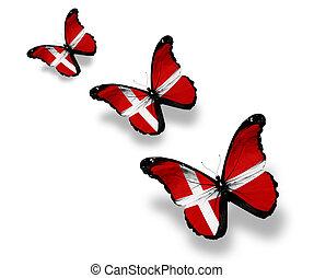 danois, papillons, trois, isolé, drapeau, blanc
