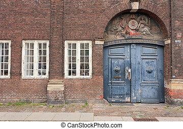 danois, vieux, porte