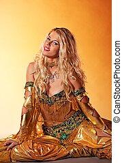 dans, arabiska, utföre, attraktiv, kvinna