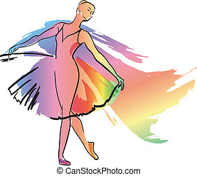 dans, ballerina, meisje