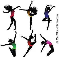 dans, ballet, silhouettes, set, meisje