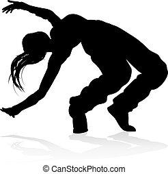dans, danser, silhouette, straat