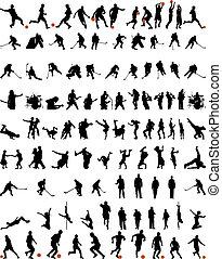dans, en, sportende, silhouettes, set