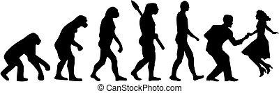 dans, evolutie, schommel